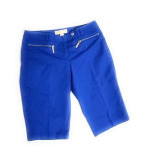 Michael Kors Women's Blue Bermuda Shorts Zipper Po